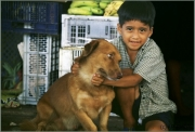 Boy with his dog, Ecuador